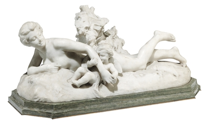 A FRENCH WHITE MARBLE GROUP OF