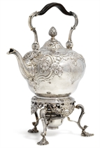 A GEORGE II SILVER KETTLE, STAND AND LAMP