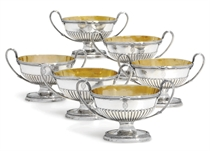 A SET OF SIX ROYAL/AMBASSADORIAL GEORGE III SILVER SALT-CELLARS