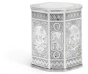 AN INDIAN SILVER TEA-CANISTER