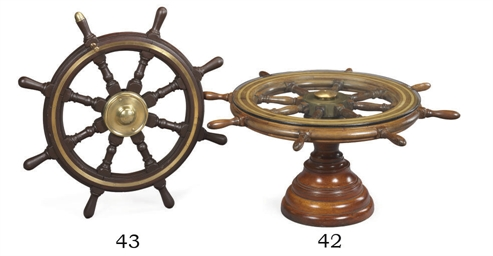 A ship's wheel coffee table