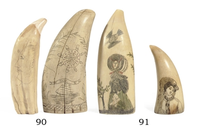 A pair of scrimshaw fashion te