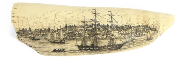 A rare and important scrimshaw