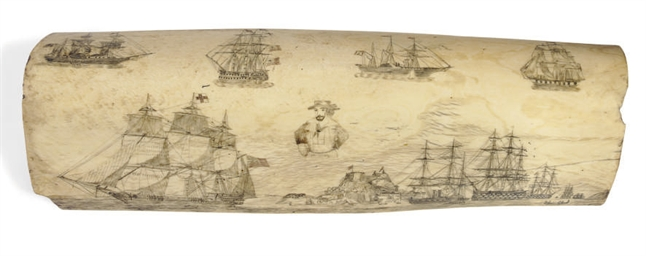 A scrimshaw pan bone engraved