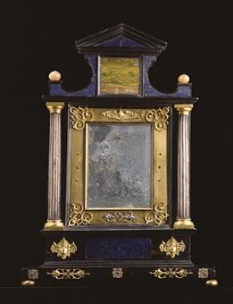 Miroir en placage d 39 ebene bois argente pierres dures et for Miroir argente