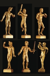 SUITE DE SIX FIGURES EN BRONZE