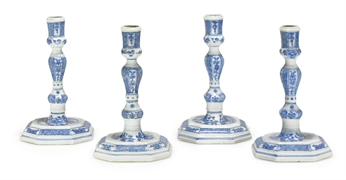 A SET OF FOUR BLUE AND WHITE C