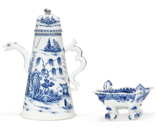 A BLUE AND WHITE COFFEE-POT AN