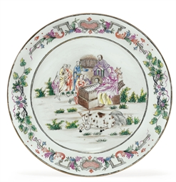 A FAMILLE ROSE 'NATIVITY' PLAT