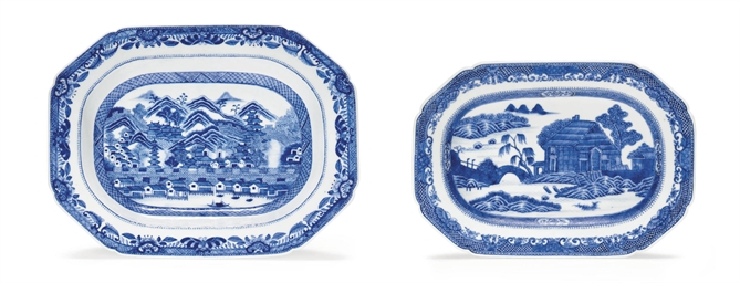 TWO BLUE AND WHITE SCENIC PLAT