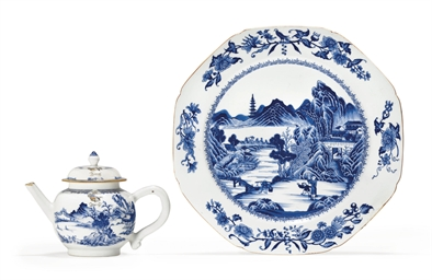 AN ARMORIAL BLUE AND WHITE TEA