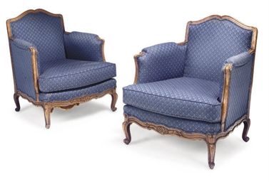 A PAIR OF FRENCH BEECH BERGERE
