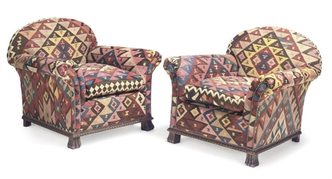A PAIR OF KILIM COVERED CLOSE-