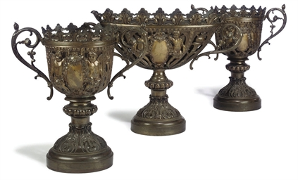 A SUITE OF THREE PIERCED BRONZ