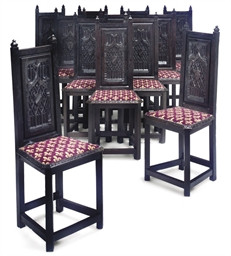 A SET OF TWELVE BLACK-PAINTED