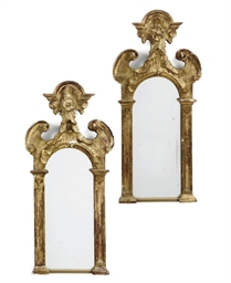 A PAIR OF SPANISH GILTWOOD MIR