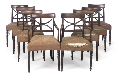 A SET OF EIGHT REGENCY MAHOGAN