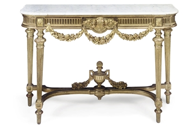 A GILTWOOD AND WHITE MARBLE MO