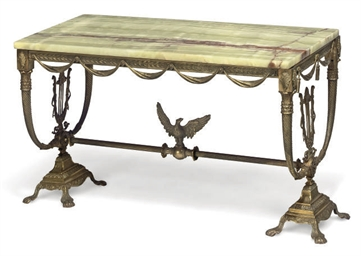 A GILT-METAL OCCASIONAL TABLE