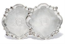 A PAIR OF GEORGE II SILVER SALVERS