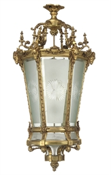 A LARGE GILT BRONZE HALL LANTE