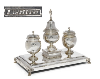 AN AMERICAN SILVER INKSTAND