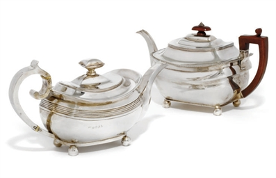 A GEORGE III OBLONG SILVER TEA