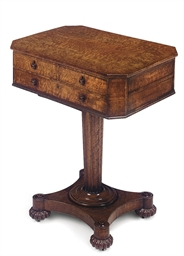 A GEORGE IV BURR-WALNUT WORK T