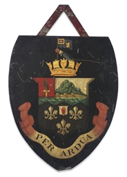 AN ENGLISH TOLE-PEINTE SHIELD