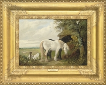 Horses and chickens in a farmyard; and Horses and goats in a field