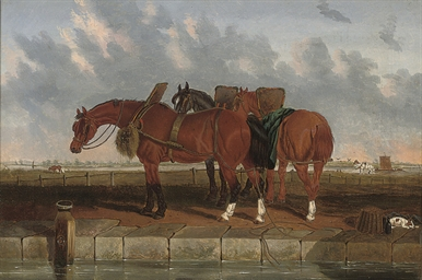 Barge horses by a canal with a