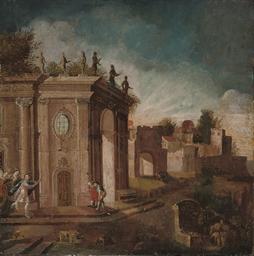 A capriccio with figures, a fr
