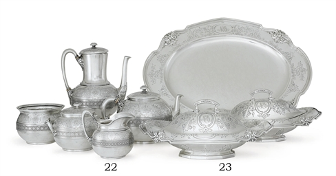 A FIVE-PIECE SILVER TEA AND CO