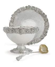 A SILVER PUNCH BOWL, LADLE AND