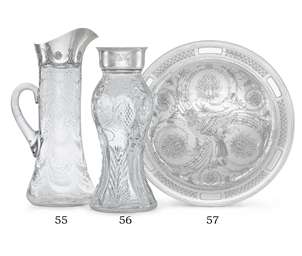 A SILVER-MOUNTED CUT-GLASS VAS