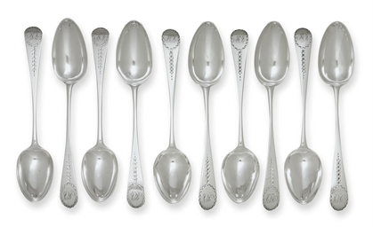 A SET OF TEN SILVER TABLESPOON