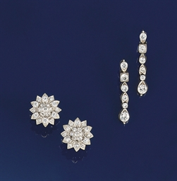 Two pairs of diamond earrings