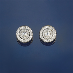 A pair of rose-cut diamond ear