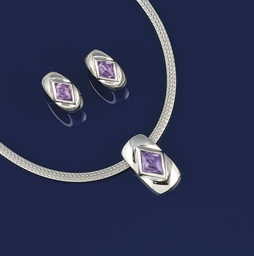 An amethyst necklace and earcl
