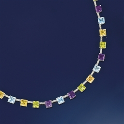 A multi-gem set necklace