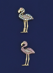 Two diamond and gem flamingo b