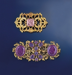 Two gem brooches