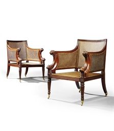 A PAIR OF REGENCY MAHOGANY CAN