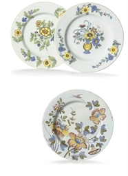 THREE ENGLISH DELFT PLATES