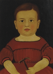 Portrait of a Baby in a Red Dr