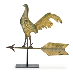 A GILT MOLDED COPPER ROOSTER W