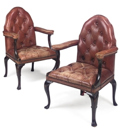 A PAIR OF MAHOGANY UPHOLSTERED