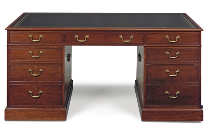 A MAHOGANY PARTNER'S DESK