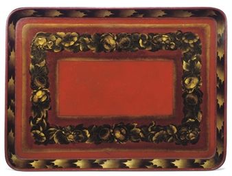 A REGENCY PAPIER-MACHÉ TRAY