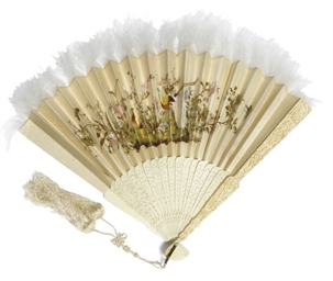 A CANTONESE IVORY FAN AND FITT